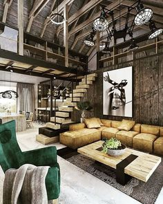 n industrial loft design was meant for an artist and it combines the best of both worlds. This industrial interior loft is a wonde Loft Estilo Industrial, Modern Industrial Decor, Industrial Interior Design, Industrial House, Industrial Interiors, Home Interior Design, Interior Decorating, Industrial Stairs, Modern Decor