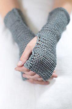(via Grey Blue Fingerless mittens Fingerless knit by Toosha on Etsy)