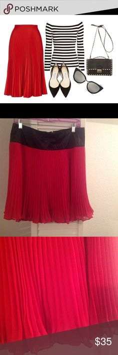NWT The Limited pleated red skirt Flirty light chiffon pleats with a black satin band. Band is 4 inches wide and total length of the skirt is 21 inches. Price firm unless bundled the Limited Skirts