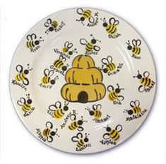 Fingerprint bumble bees.do this instead of guess book. Have each guess put their finger print on the plate and write their name under