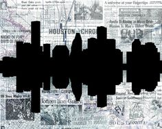 Houston skyline reflection silhouette collage