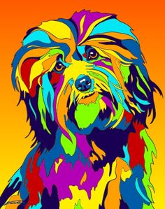 Multi-Color Havanese Dog Matted Prints & Canvas Giclées. Hand painted and printed in USA by the artist Michael Vistia. Dog Breed: The Havanese, a breed of Bichon type, is the national dog of Cuba, dev