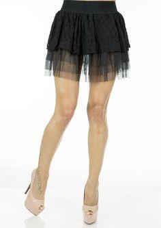 Fusta Dama Black Lace  Fusta dama mini, tutu. Design cool ce avantajeaza mai multe tipuri de silueta.  Detaliu - insertie de dantela fina ce ii da un plus de senzualitate.     Lungime: 42cm  Latime talie: 35cm  Compozitie: 100%Poliester Mai, Skater Skirt, Ballet Skirt, Skirts, Black, Design, Fashion, Moda, Skirt