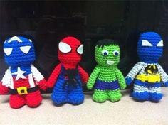 Captain America Spiderman Hulk Batman Custom Crochet by LuvKnotz, $55.00