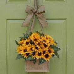 Sunflower Door Wreath Burlap Wreath Alternative Fall