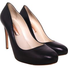 Pre-owned Rupert Sanderson Closed Toe Court Shoe ($86) ❤ liked on Polyvore featuring shoes, pumps, black, closed-toe pumps, real leather shoes, closed toe shoes, high heel shoes and black high heel shoes