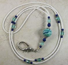 Dabble Doos makes the BEST lanyards!!  Aqua Blue SWIRL handcrafted beaded ID Badge Holder by DabbleDoos, $27.95