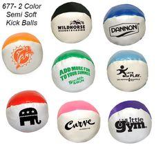 "2"" Semi Soft Squeezable Kickballs #677 & Variety * - Imprinted, Two tone kick ball, 2""."
