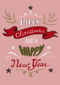 Stylish pink Christmas card #handlettering, design: Hilde Reurink