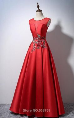 Sleeveless A Line Cap Sleeve Red Satin Floor Length O Neckline Long Prom Dress