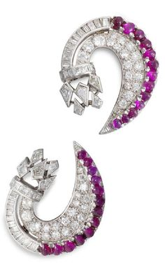 A pair of diamond and ruby earrings, French, circa 1935.