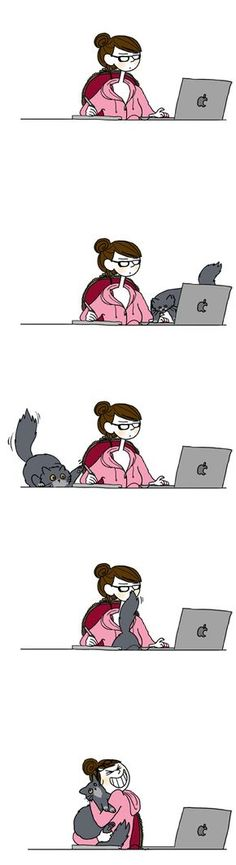 Tellement vrai ! Mais je n'aurais certainement pas tenu aussi longtemps qu'elle ... ;-) Cool Cats, I Love Cats, Crazy Cats, Living With Cats, Cat Comics, Photo Chat, Cat People, Cat Life, All About Cats