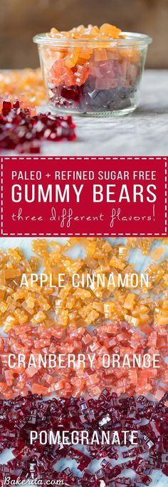 These Paleo Gummies couldn't be easier to make! The three flavors, Pomegranate, Apple Cinnamon, and Cranberry Orange, are flavored with fruit juice and made with gut-healing @Vital Proteins gelatin for a superfood boost. You can use any flavor of fruit juice you'd like to customize these to your tastes, too! #ad
