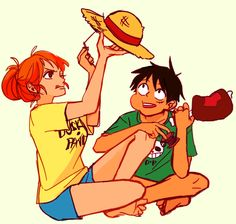 Luffy and Nami by stitchfruit on tumblr