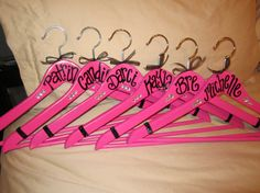 hot pink and black wedding hangers!  available at:   passionatelypink.etsy.com
