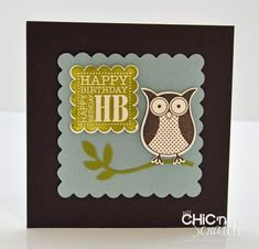 This was my swap card for the Stampin' Up! I used the Punch Bunch stamp set from the Sale-a-bration catalog that starts next week Stamping Up Cards, Rubber Stamping, Owl Punch Cards, Owl Card, Animal Cards, Punch Art, Masculine Cards, Hand Stamped, Birthday Cards