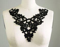Black Venice Lace Applique Collar / Venetian Lace / Neckline