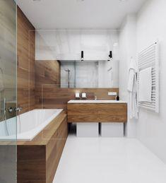 Изящный минимализм / Дизайн интерьера / Архимир Furniture Placement, Small Rooms, Minimalism, Sweet Home, Bathtub, Interior Design, Bathroom, Wood, House