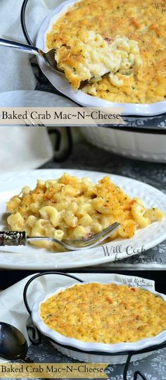 Baked Crab Mac And Cheese   from willcookforsmiles.com #comfortfood #macaroni