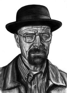 """Walter White: """"Breaking Bad"""" ROCKS! Lápiz y carbonilla sobre papel A3 A todos los fans, sean libres de compartir y Gracias!!"""