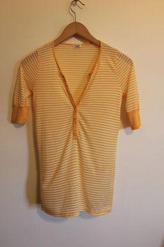 Splendid yellow and white striped shirt  #Splendid #KnitTop #Casual