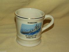 USS WISCONSIN BB-64 MUG RECOMMISSIONED 1988 COFFEE TEA CUP MIL ART BATTLESHIP
