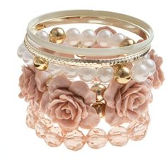 Carved Rose Bracelet Set ($11) ❤ liked on Polyvore featuring jewelry, bracelets, pink, pink jewelry, rose jewellery, rose jewelry, beaded bangles and rose bangle