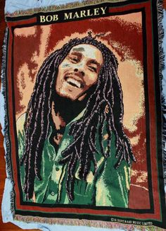 Bob Marley Woven Tapestry Throw Blanket Hope Road Music Green Jamaican Reggae # #Throw