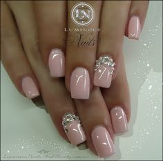 Baby Pink Nails with Crystals & Pearls...