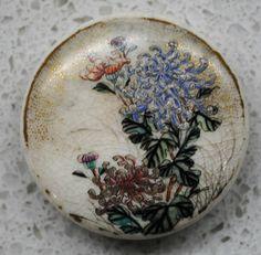 Massive Kinkozan Meiji Japanese Satsuma H P Floral Ceramic Button 1 2 | eBay