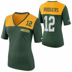 29b2151c Nike Aaron Rodgers Green Bay Packers Ladies My Player Top Tri-Blend V-Neck T -Shirt - Gold/Green. Packers Pro ShopGo ...