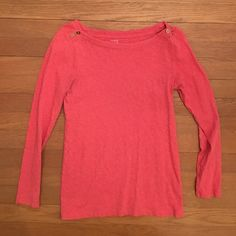 J. Crew | Button Boatneck Tee J. Crew Coral Boatneck Painter tee with button on neck line. Excellent condition! J. Crew Tops Tees - Long Sleeve