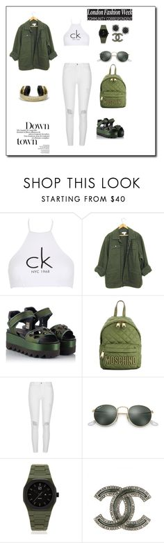 """""""Just taking a walk down town"""" by rastaress-motso ❤ liked on Polyvore featuring Calvin Klein, Ballin, Moschino, River Island, Ray-Ban, Beats by Dr. Dre, d1 Milano and Mark Broumand"""
