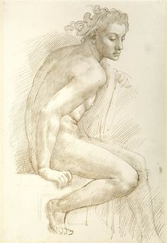"Study from Michelangelo (one of the young men on the cornice of the Sistine Chapel, beneath ""The Sacrifice of Noah"") Alphonse Legros (French; 1837–1911) Pen and brown ink ca. 1880s The British Museum, London 