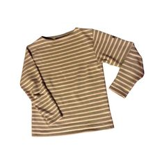 Pre-owned Saint James Tops (€36) ❤ liked on Polyvore featuring tops, shirts, long sleeves, sweaters, brown top, long sleeve shirts, brown long sleeve shirt, stripe top and striped long sleeve shirt