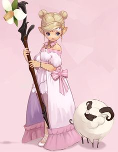 Little bo peep Final Fantasy Xiv, Final Fantasy Artwork, Character Inspiration, Character Art, Character Design, Fantasy Characters, Dnd Characters, Kauai, Character Illustration