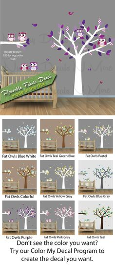 Purple Owl Wall Decal with White Tree, Girls Room, Tree Decals, Owl Stickers(6 Fat Owl Tree Purple) on Etsy, $24.99