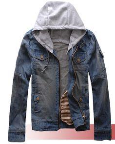 Mens Denim Jacket Stand Collar Zipper Hooded Long Sleeve Stylish Denim Man Jackets Discount Online Shopping