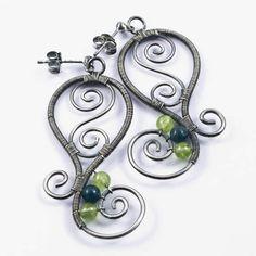 SALE Silver swirls earrings  wire wrapped gemstone by intuicio