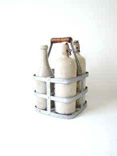french metal bottle carrier