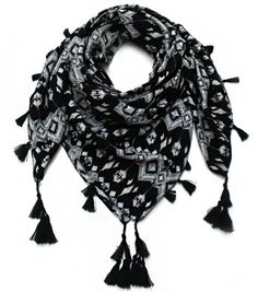 Black and White and Tasseled All Over, it sounds like a knock knock joke but it's really just the description of our newest Squared Aztec Printed Scarf
