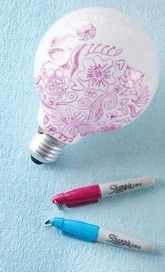 Decorate a light bulb with Sharpies and the light filters through the designs.