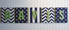 Nursery Letters, Nursery Decor, Upholstered Letters, Personalized, Nursery Art, Navy and White Fabrics, Green Letters, on Etsy, $104.95