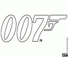 Free The logo of the most famous secret agent in the world of cinema, Agent 007, James Bond. James Bond is a fictional character created by English writer Ian Fleming in 1952 coloring and printable page.