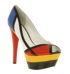 Just linking back to my last art as fashion post; these bright heels I spotted in office the other day show that Mondrian inspired sty. Bright Heels, Mondrian Art, Mondrian Dress, Muses Shoes, Cool Style, My Style, Everyday Shoes, Shoe Art, Art Plastique
