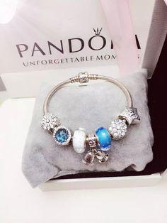 50% OFF!!! $199 Pandora Charm Bracelet Blue White. Hot Sale!!! SKU: CB01969 - PANDORA Bracelet Ideas