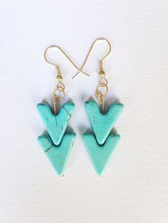 Turquoise arrow dangle earrings bohemian by azadouhijewelry, $18.00