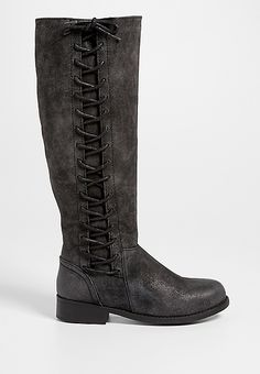 Sharon boot with lace up side in black | maurices