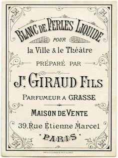 Here is a beautiful vintage French beauty label for Blanc de Perles Liquide that was printed for Jn. Description from olddesignshop.com. I searched for this on bing.com/images
