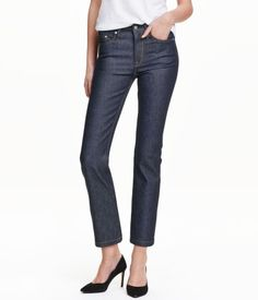 5-pocket, ankle-length jeans in washed stretch denim with a high waist and straight legs.